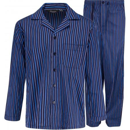 Pyjamas en popeline à carreaux - bleu