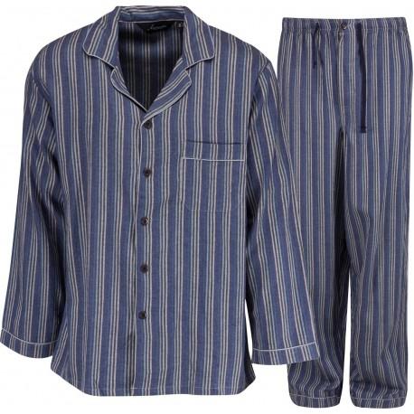 Ambassador pyjama de flanelle - Bleu / Gris