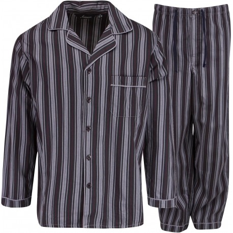 Ambassador flanelle pyjama - Noir / Gris